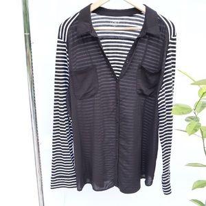Loft Sheer Front Striped Back Button Down Shirt XL